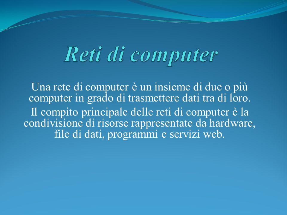 Reti di computerUna rete di computer è un insieme di due o più computer in grado di trasmettere dati tra di loro.
