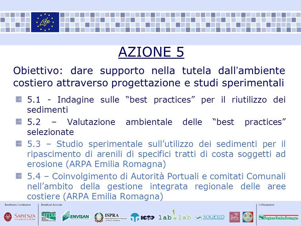 AZIONE 5 Obiettivo: dare supporto nella tutela dall'ambiente costiero attraverso progettazione e studi sperimentali.