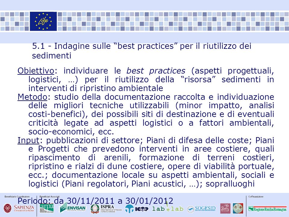 5.1 - Indagine sulle best practices per il riutilizzo dei sedimenti