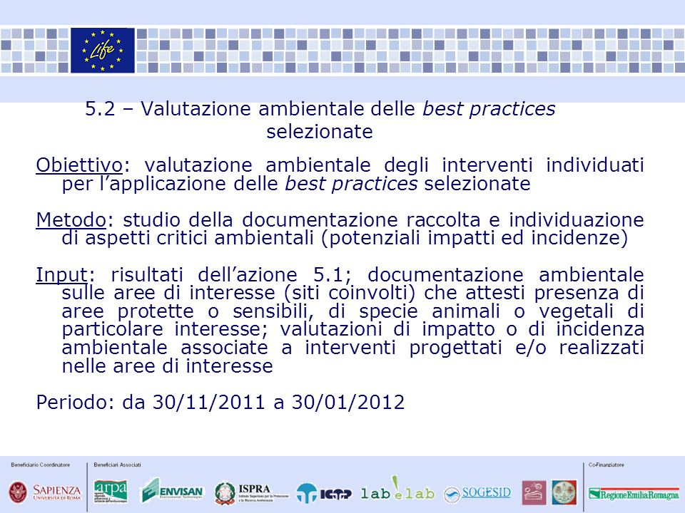 5.2 – Valutazione ambientale delle best practices selezionate