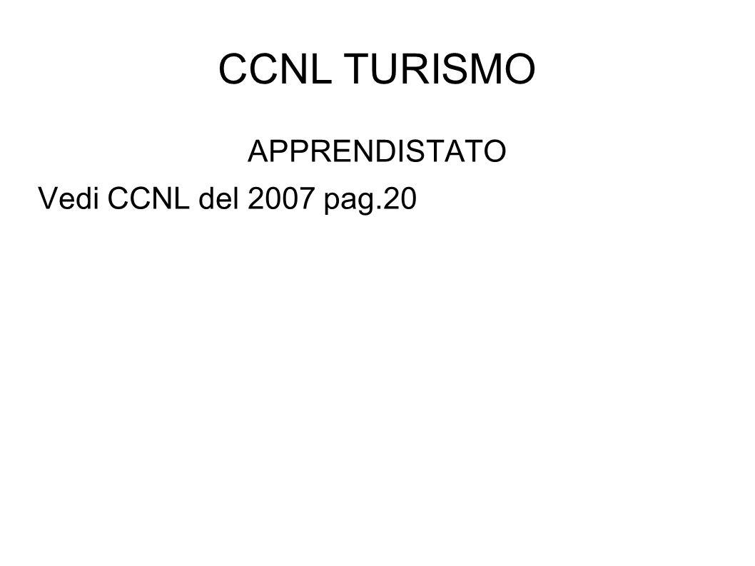 CCNL TURISMO APPRENDISTATO Vedi CCNL del 2007 pag.20