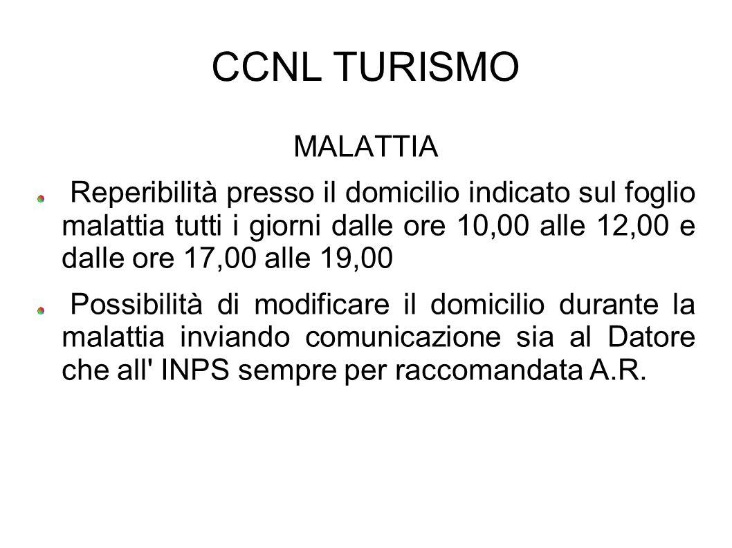 CCNL TURISMO MALATTIA.