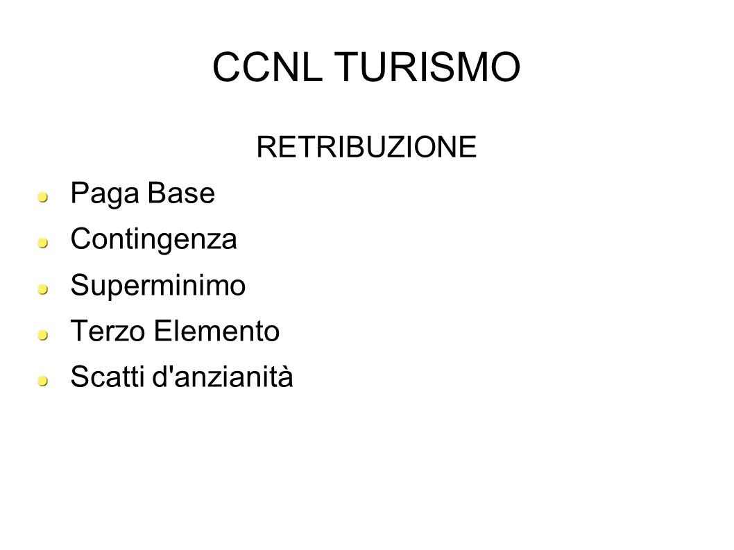 CCNL TURISMO RETRIBUZIONE Paga Base Contingenza Superminimo