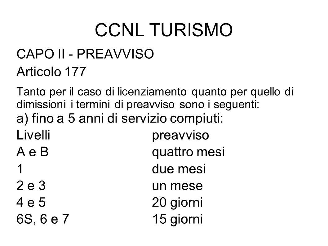CCNL TURISMO CAPO II - PREAVVISO Articolo 177
