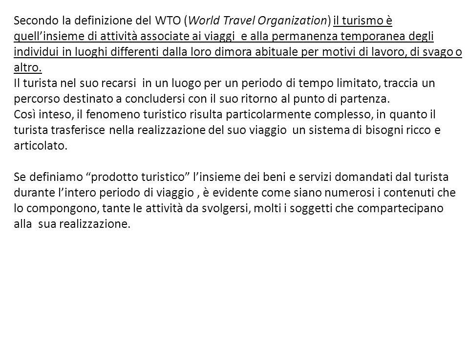 Secondo la definizione del WTO (World Travel Organization) il turismo è quell'insieme di attività associate ai viaggi e alla permanenza temporanea degli individui in luoghi differenti dalla loro dimora abituale per motivi di lavoro, di svago o altro.