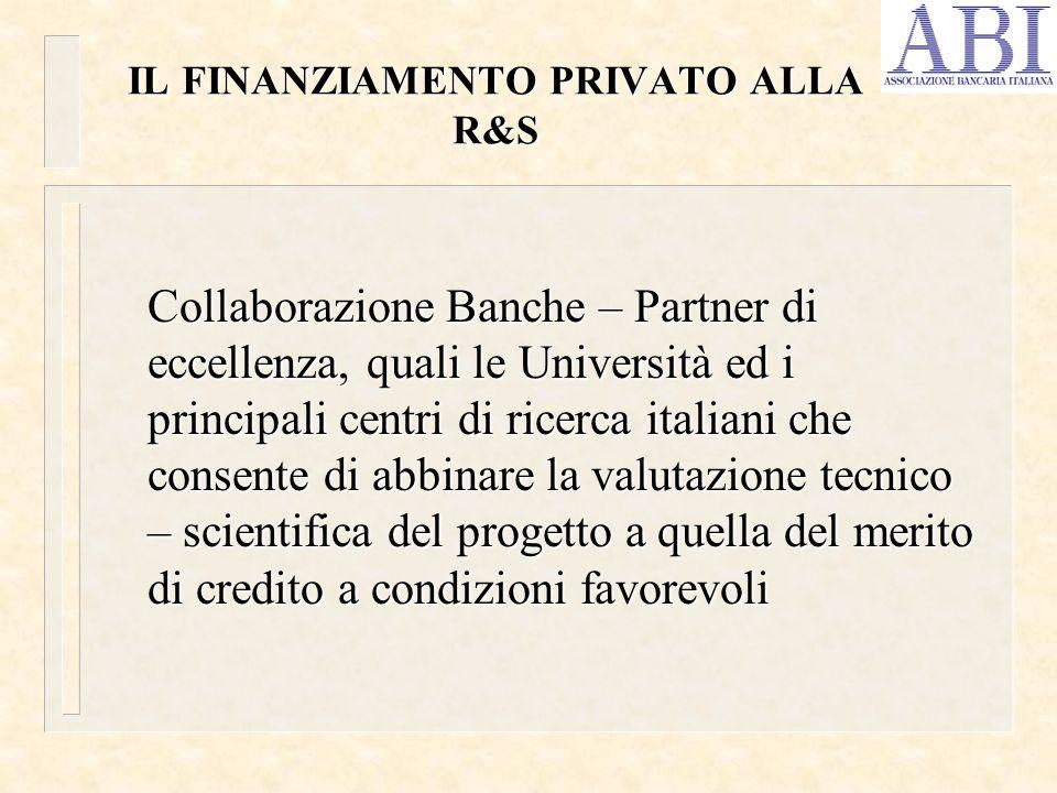 IL FINANZIAMENTO PRIVATO ALLA R&S