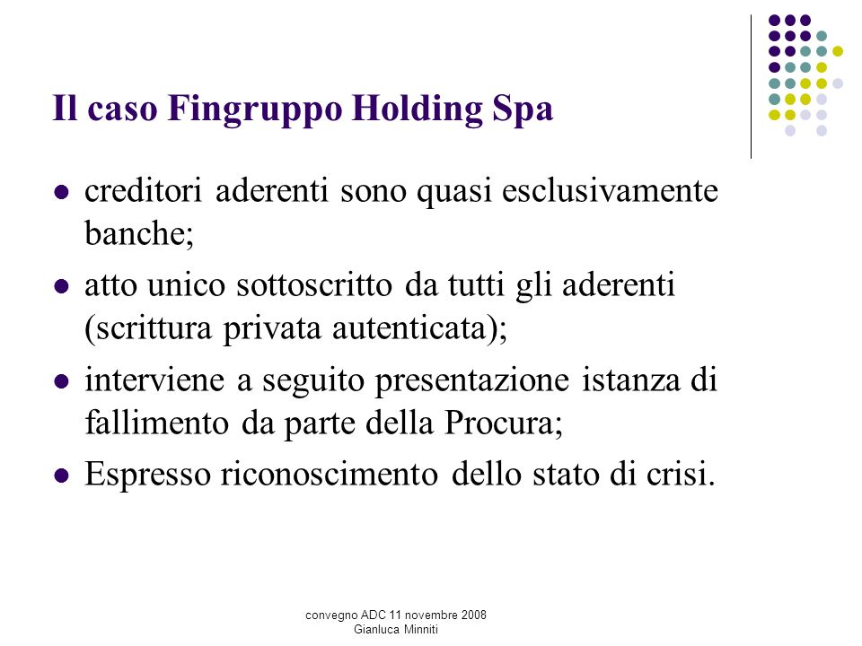 Il caso Fingruppo Holding Spa