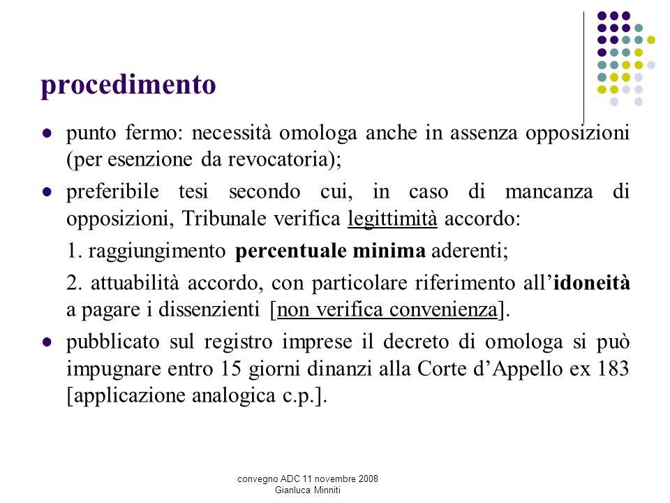 procedimento punto fermo: necessità omologa anche in assenza opposizioni (per esenzione da revocatoria);