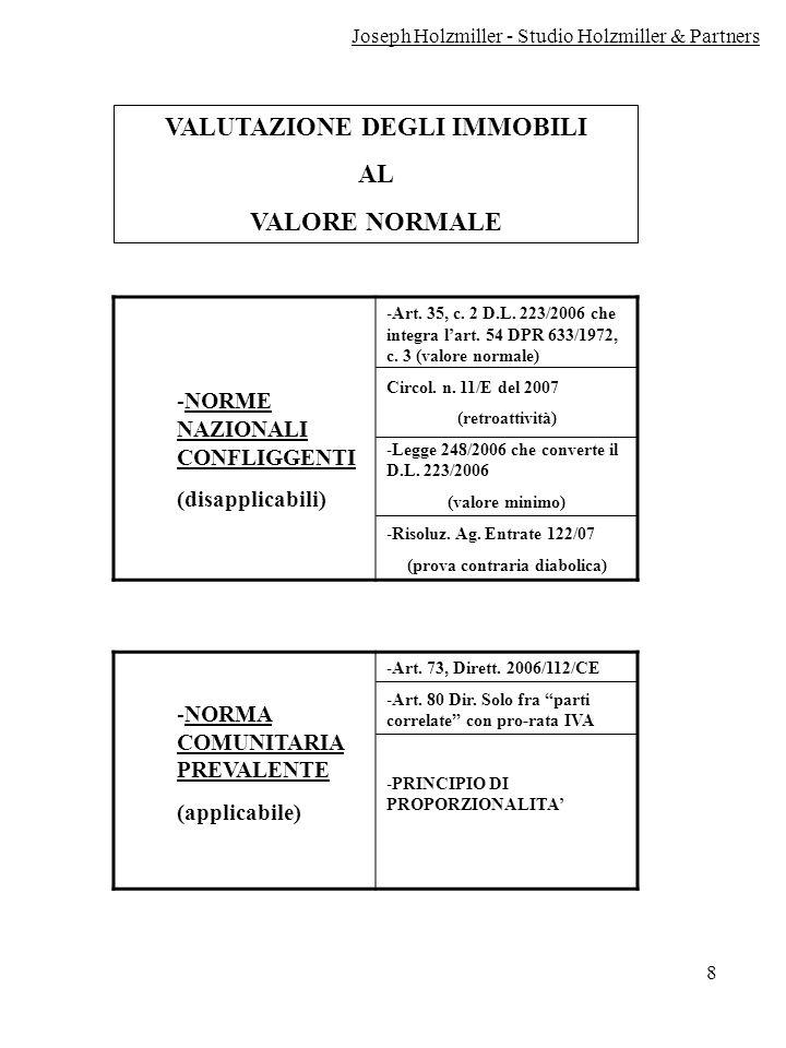 VALUTAZIONE DEGLI IMMOBILI (prova contraria diabolica)