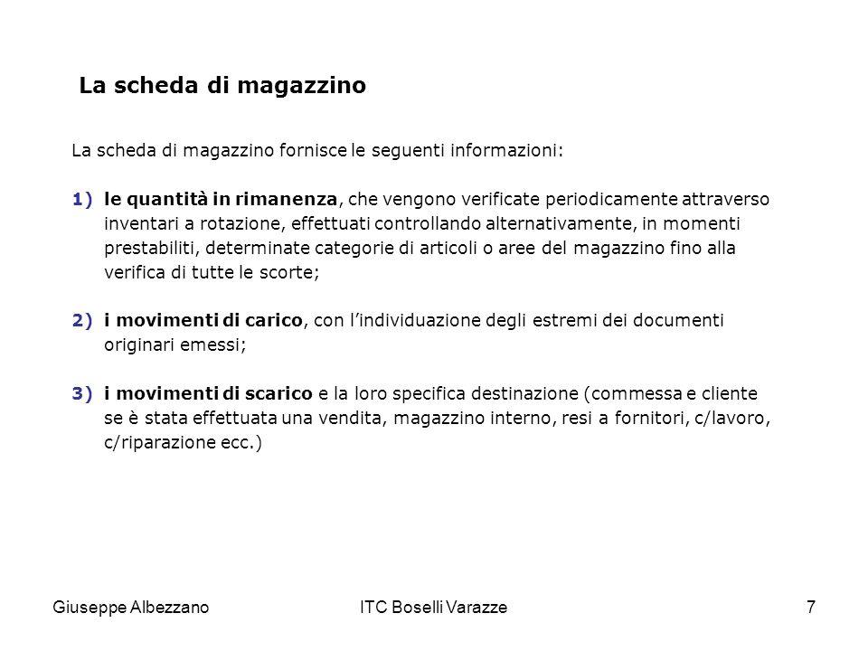 La scheda di magazzino La scheda di magazzino fornisce le seguenti informazioni: