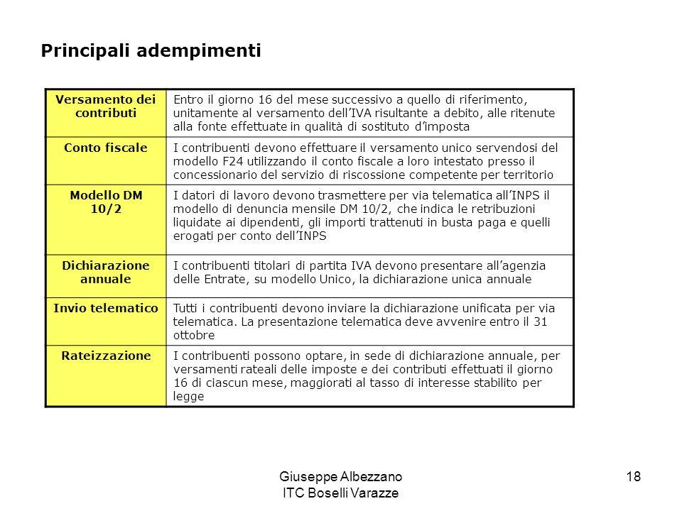 Versamento dei contributi Dichiarazione annuale