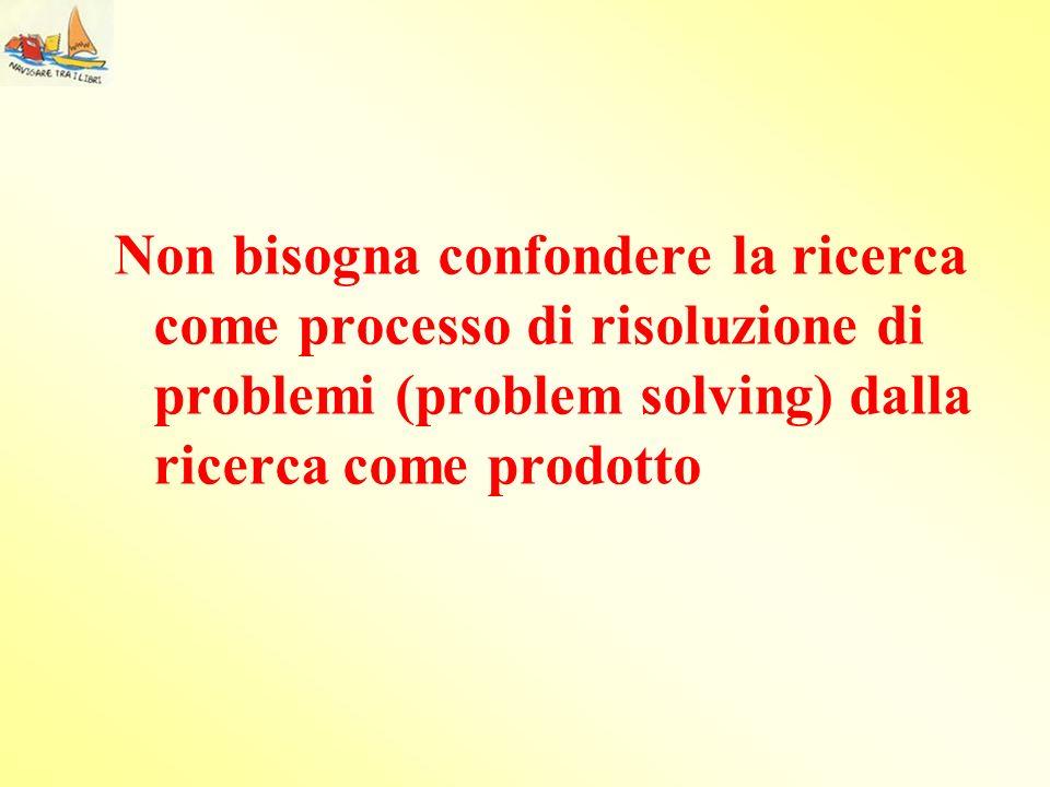 Non bisogna confondere la ricerca come processo di risoluzione di problemi (problem solving) dalla ricerca come prodotto