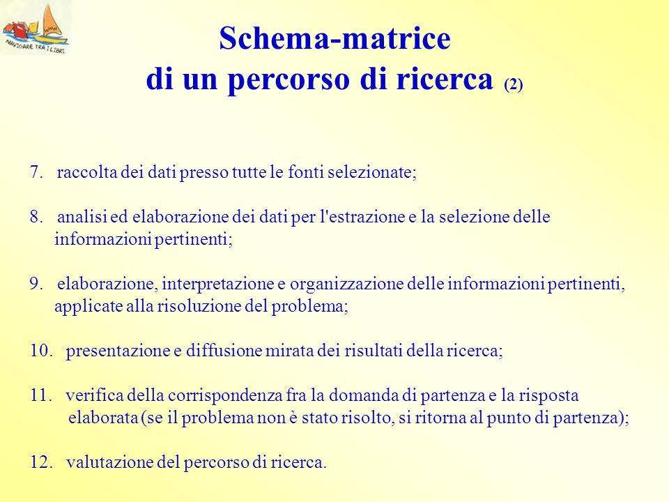 Schema-matrice di un percorso di ricerca (2)