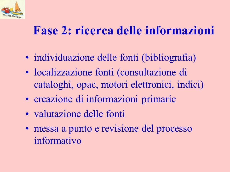 Fase 2: ricerca delle informazioni