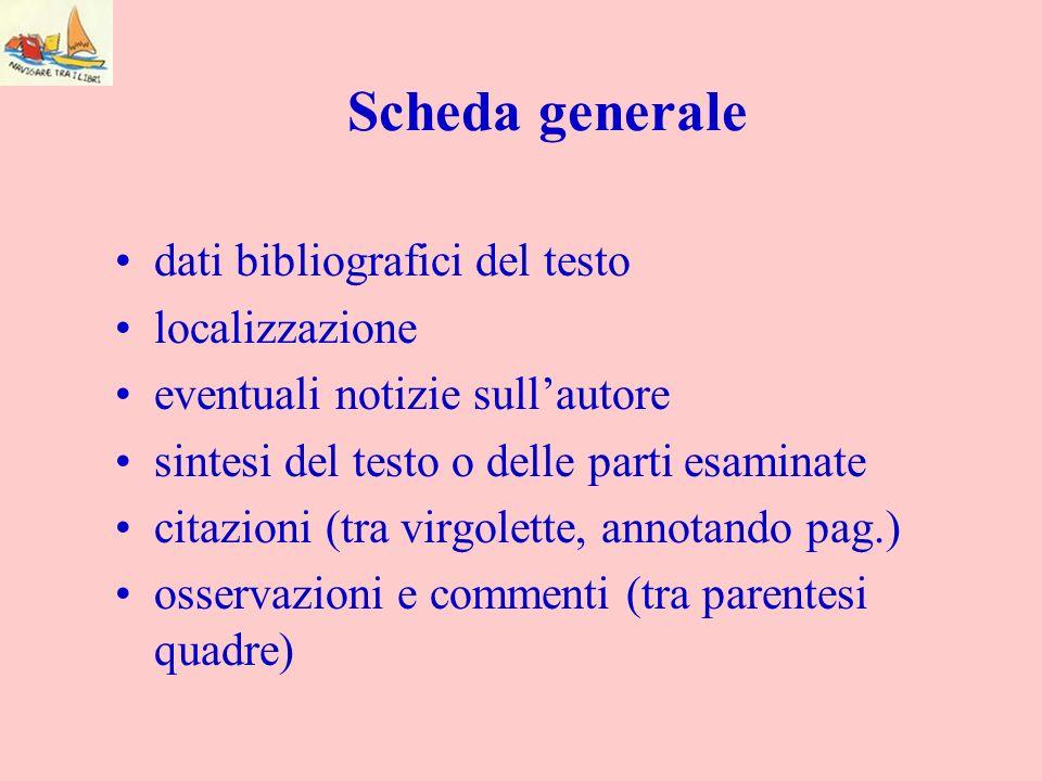 Scheda generale dati bibliografici del testo localizzazione