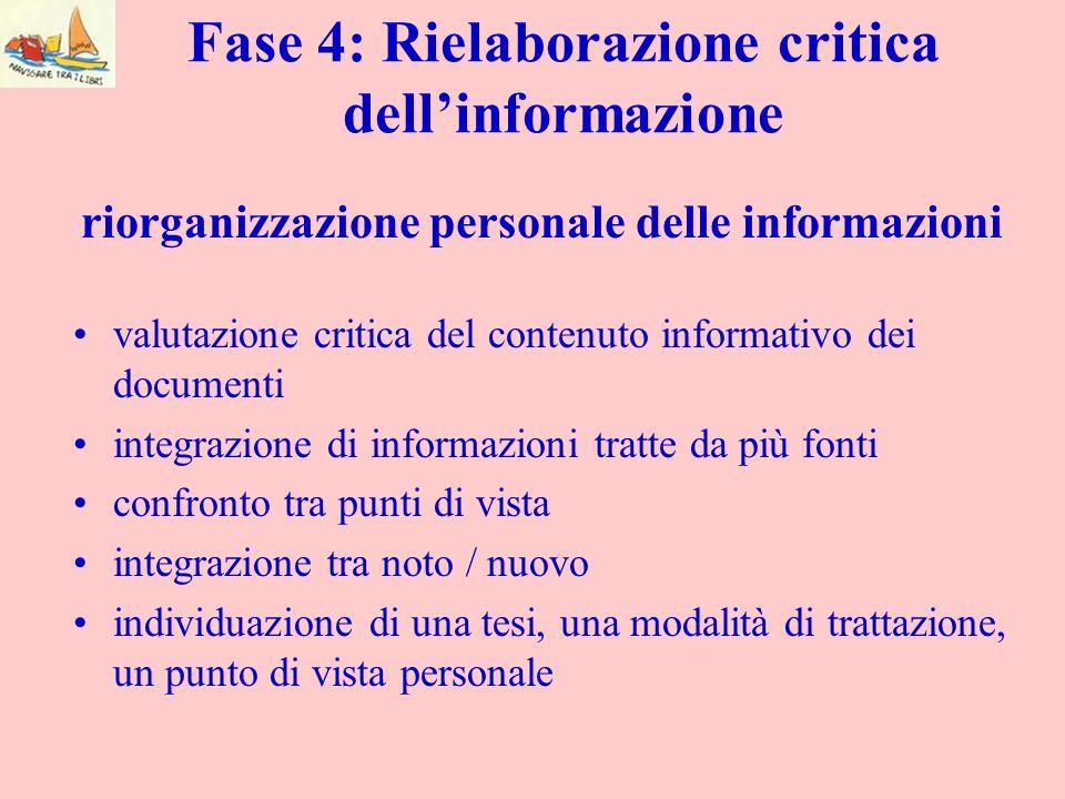 Fase 4: Rielaborazione critica dell'informazione