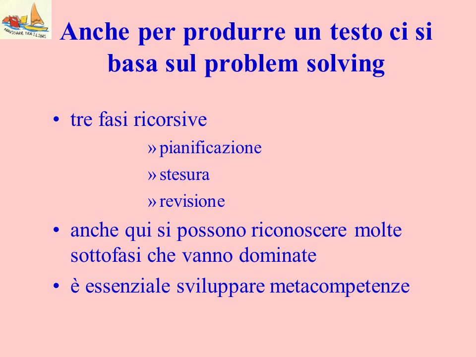 Anche per produrre un testo ci si basa sul problem solving