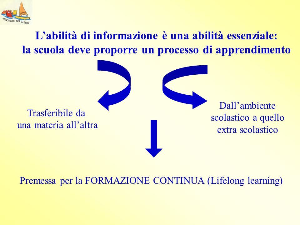 L'abilità di informazione è una abilità essenziale: la scuola deve proporre un processo di apprendimento