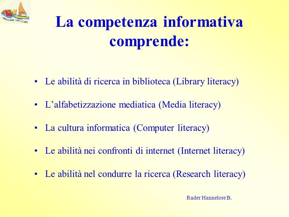 La competenza informativa comprende: