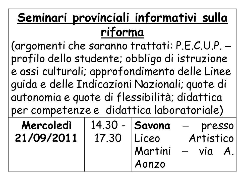 Seminari provinciali informativi sulla riforma