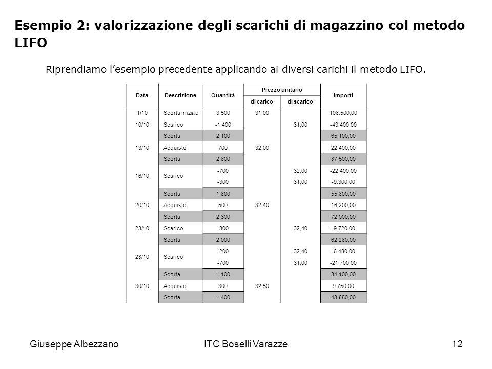 Esempio 2: valorizzazione degli scarichi di magazzino col metodo LIFO