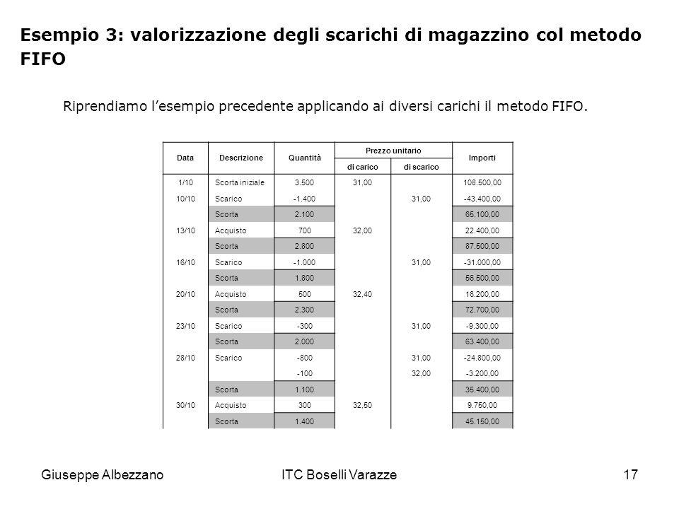 Esempio 3: valorizzazione degli scarichi di magazzino col metodo FIFO