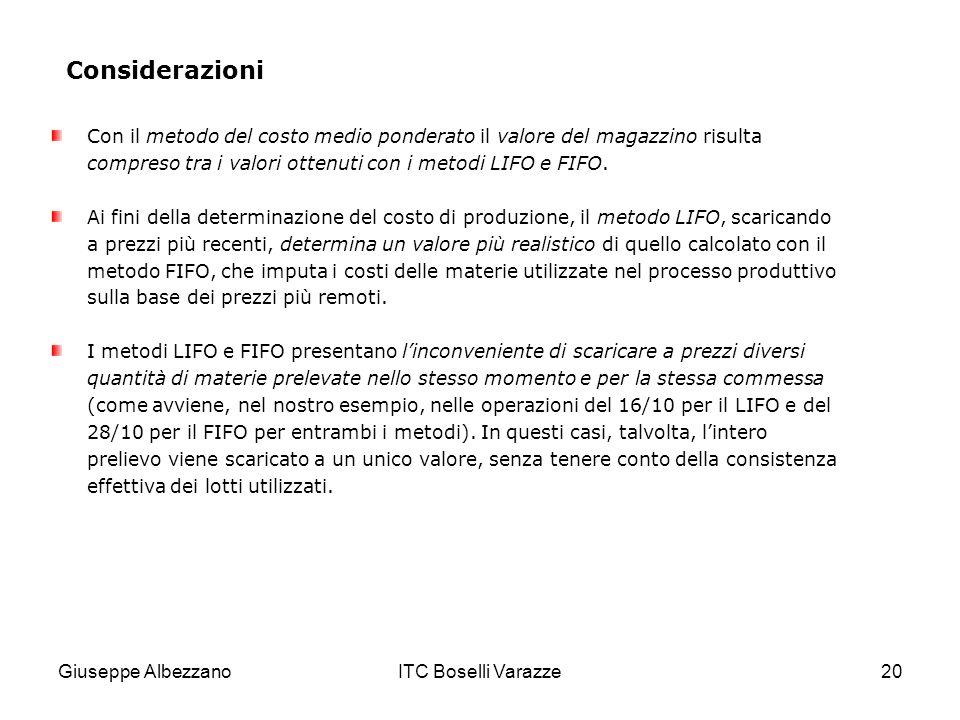Considerazioni Con il metodo del costo medio ponderato il valore del magazzino risulta compreso tra i valori ottenuti con i metodi LIFO e FIFO.