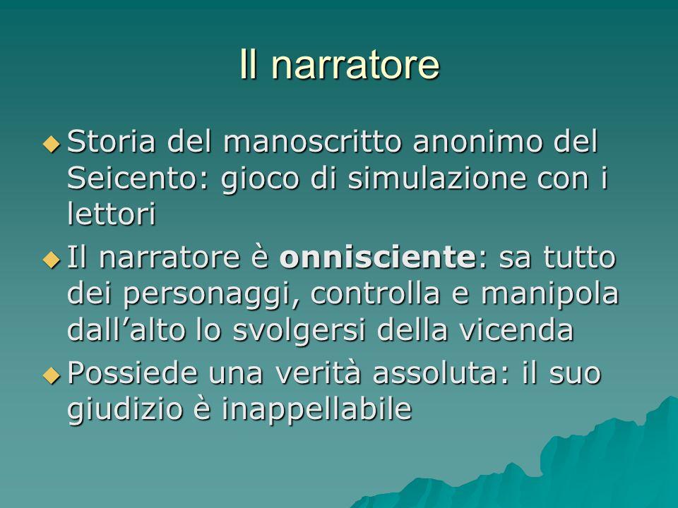 Il narratore Storia del manoscritto anonimo del Seicento: gioco di simulazione con i lettori.