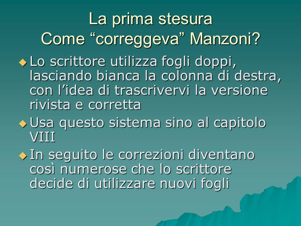 La prima stesura Come correggeva Manzoni
