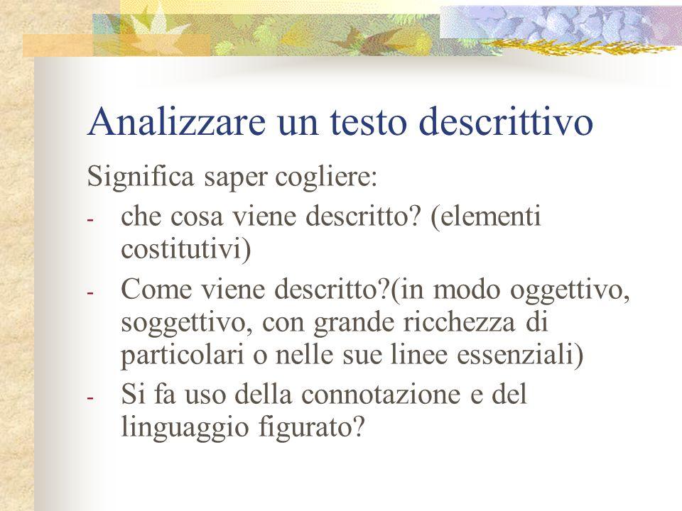Analizzare un testo descrittivo