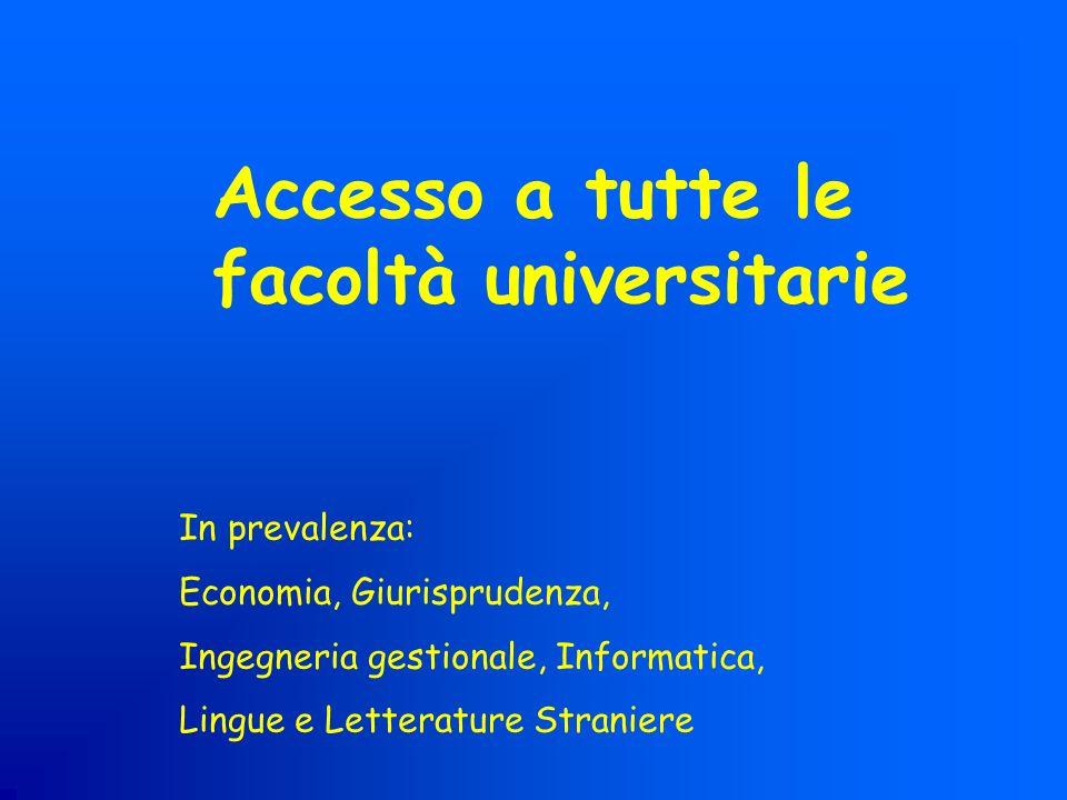 Accesso a tutte le facoltà universitarie
