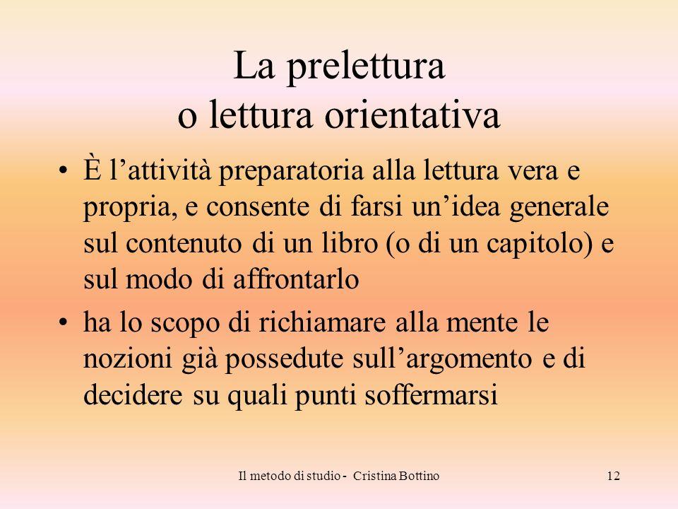 La prelettura o lettura orientativa