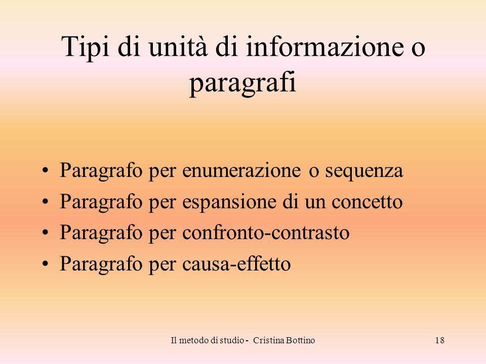 Tipi di unità di informazione o paragrafi