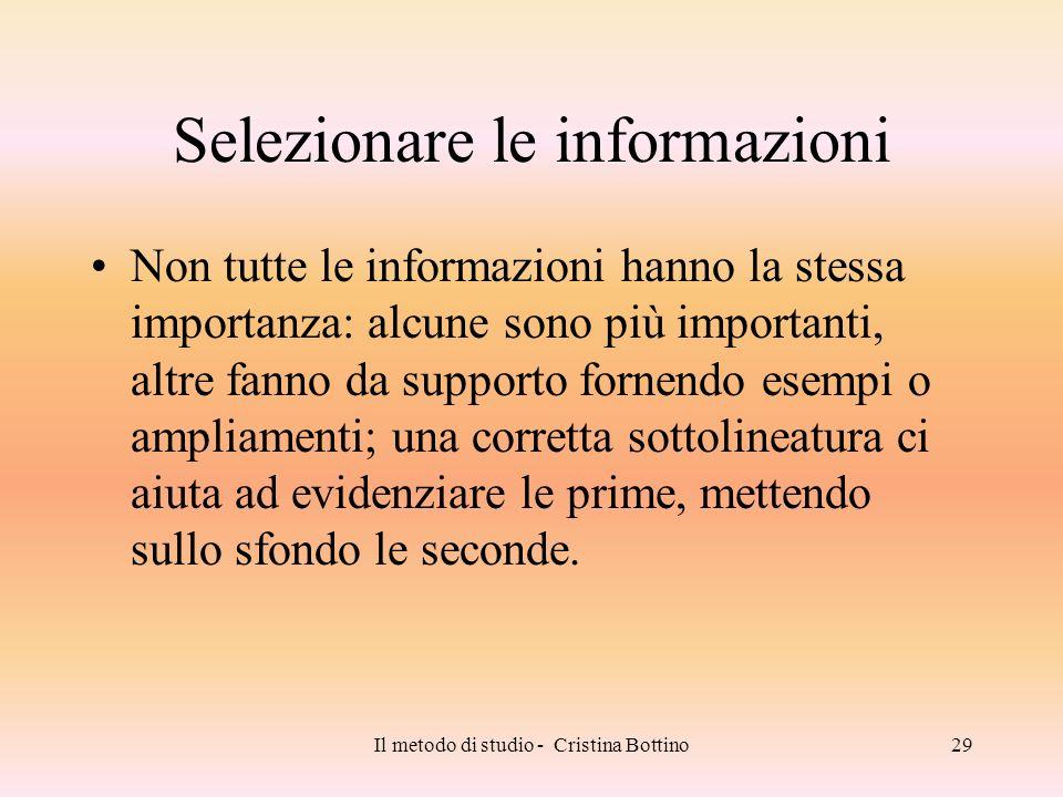 Selezionare le informazioni