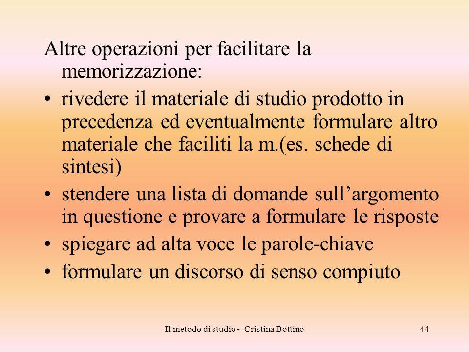 Il metodo di studio - Cristina Bottino