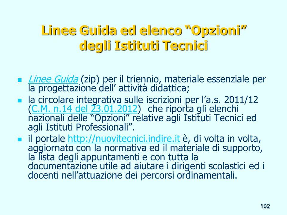 Linee Guida ed elenco Opzioni degli Istituti Tecnici