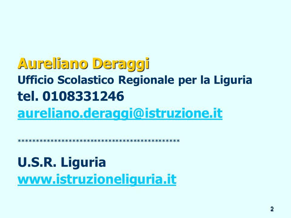 Aureliano Deraggi tel. 0108331246 aureliano.deraggi@istruzione.it