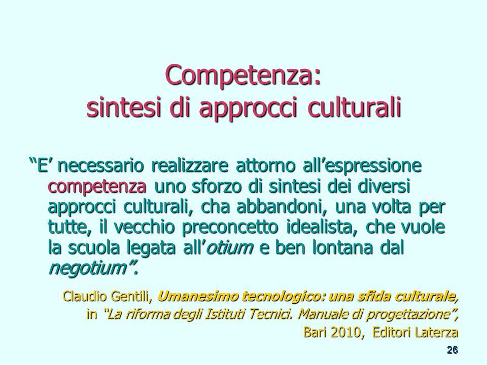 Competenza: sintesi di approcci culturali