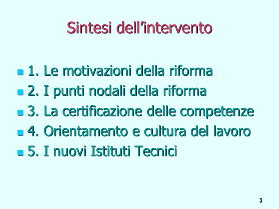 Sintesi dell'intervento