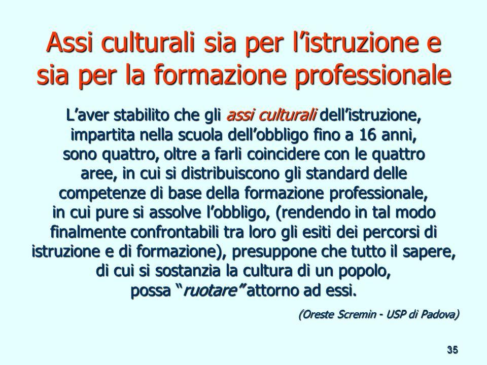 Assi culturali sia per l'istruzione e sia per la formazione professionale