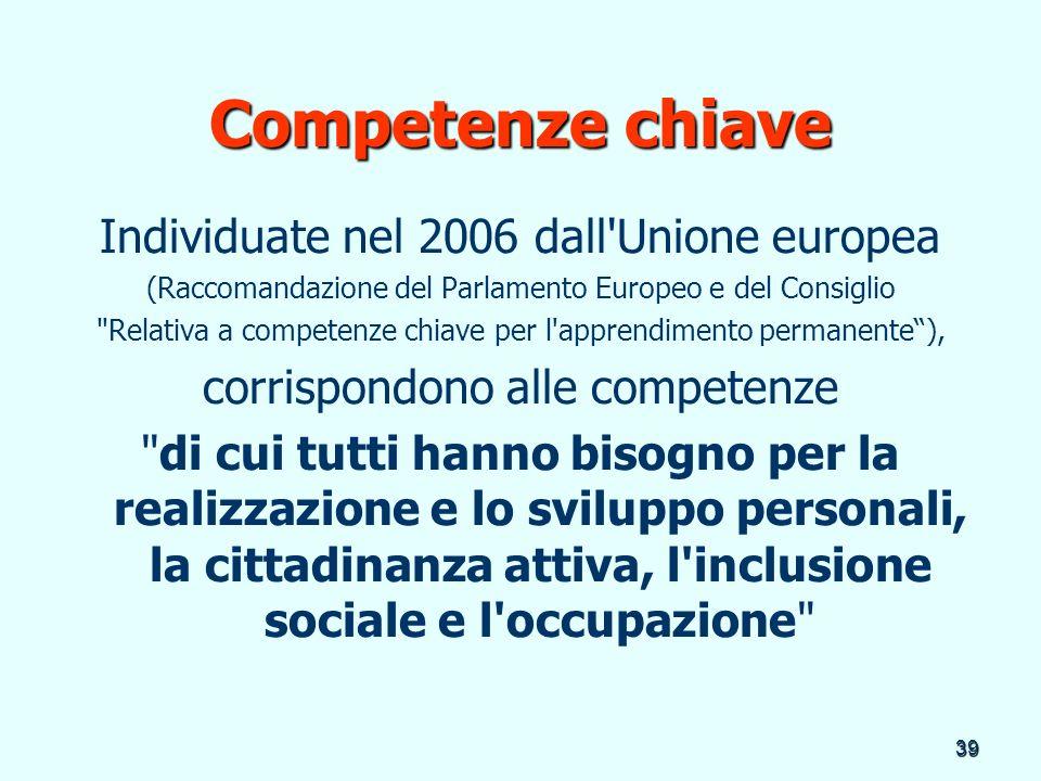 Competenze chiave Individuate nel 2006 dall Unione europea