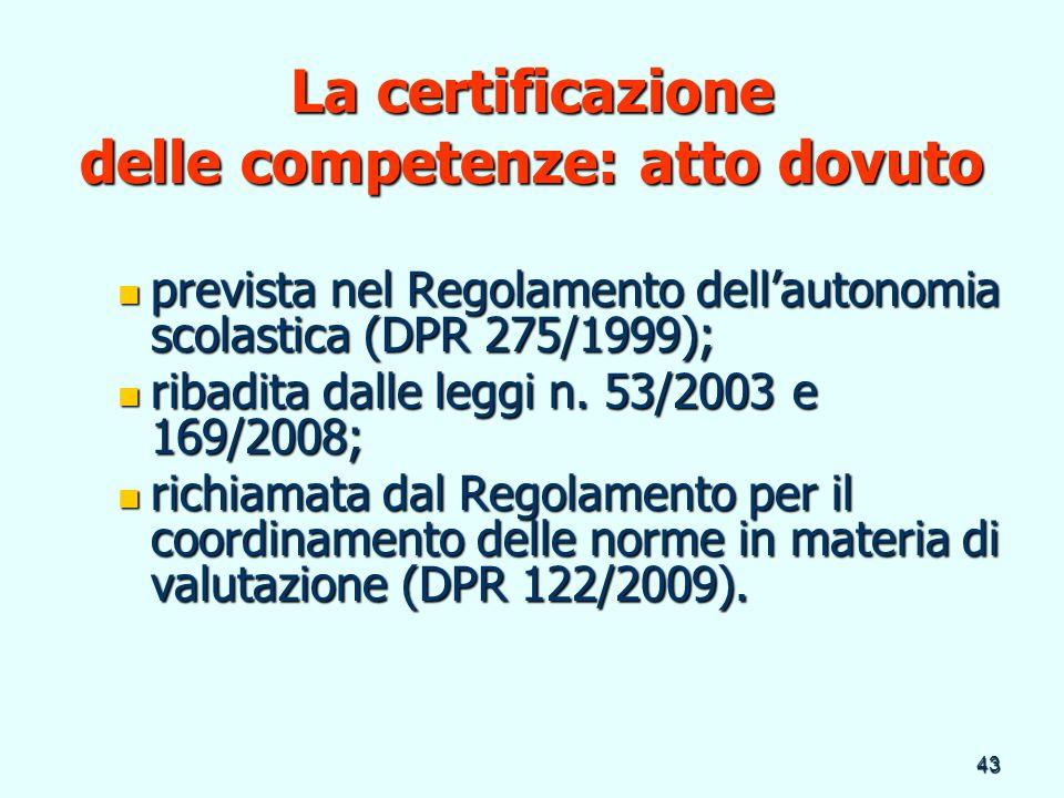 La certificazione delle competenze: atto dovuto