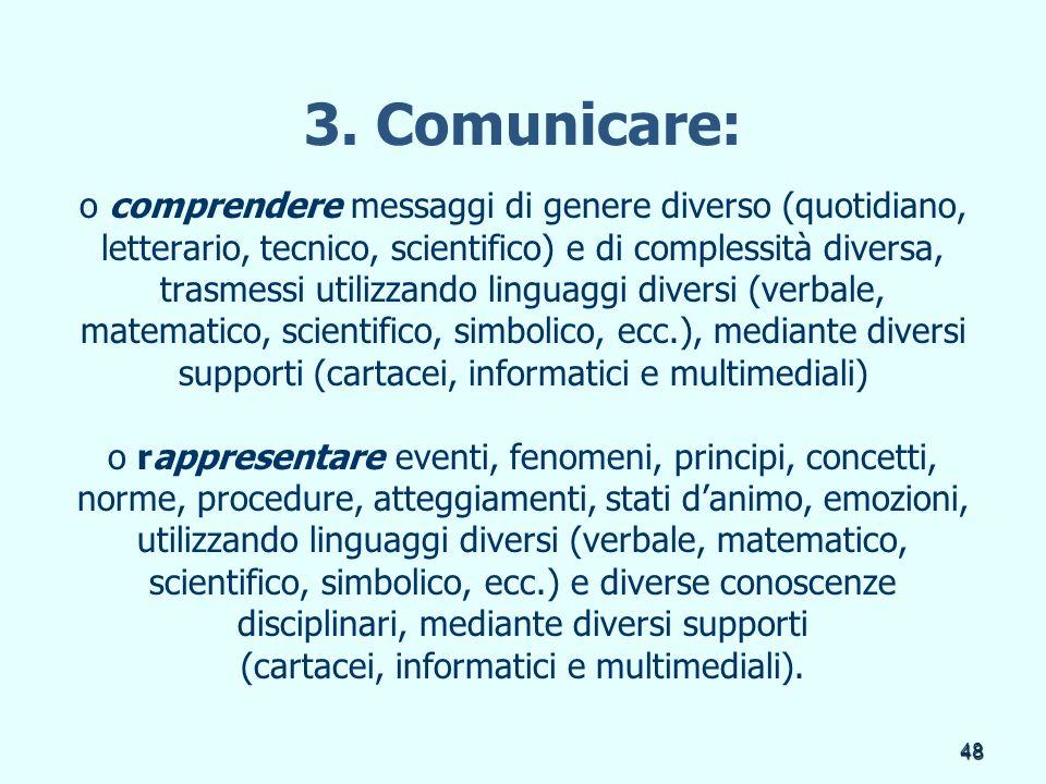 3. Comunicare: o comprendere messaggi di genere diverso (quotidiano,