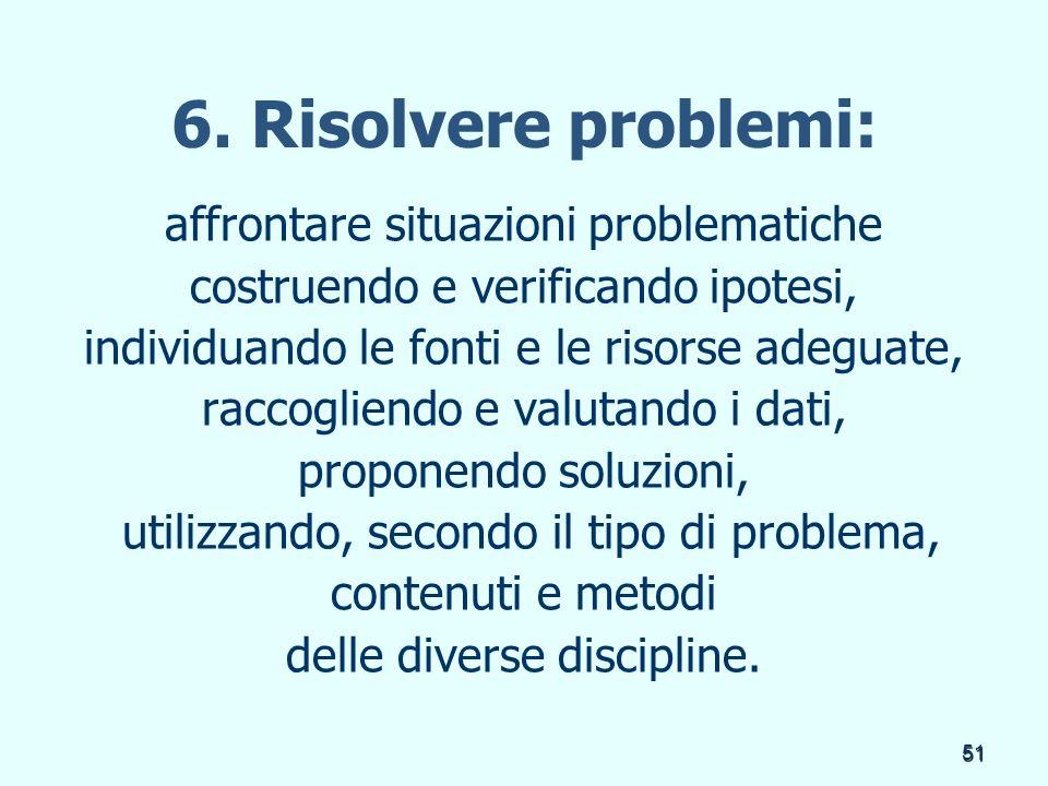 6. Risolvere problemi: affrontare situazioni problematiche