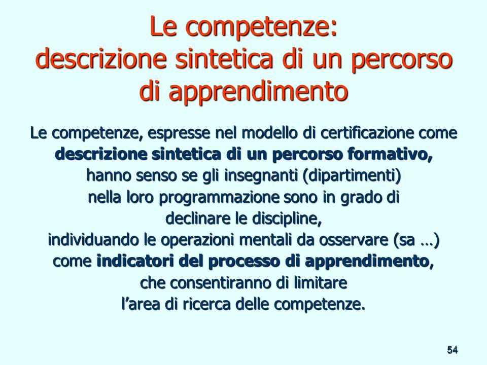 Le competenze: descrizione sintetica di un percorso di apprendimento