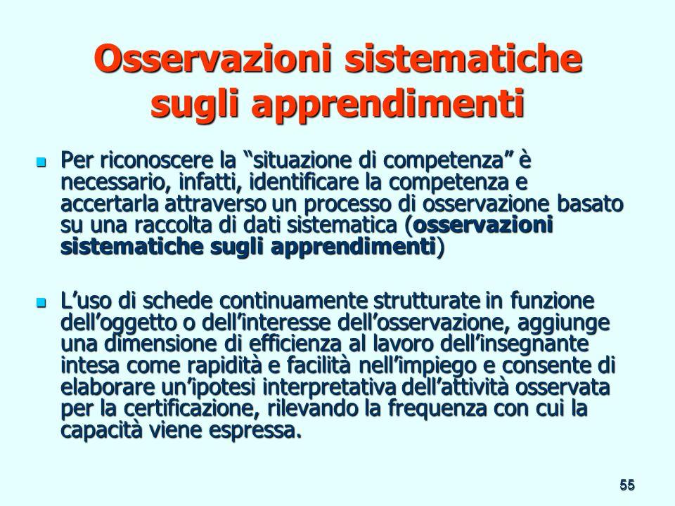 Osservazioni sistematiche sugli apprendimenti