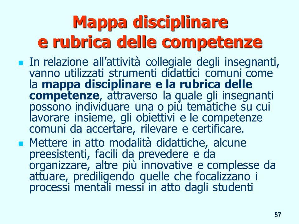 Mappa disciplinare e rubrica delle competenze