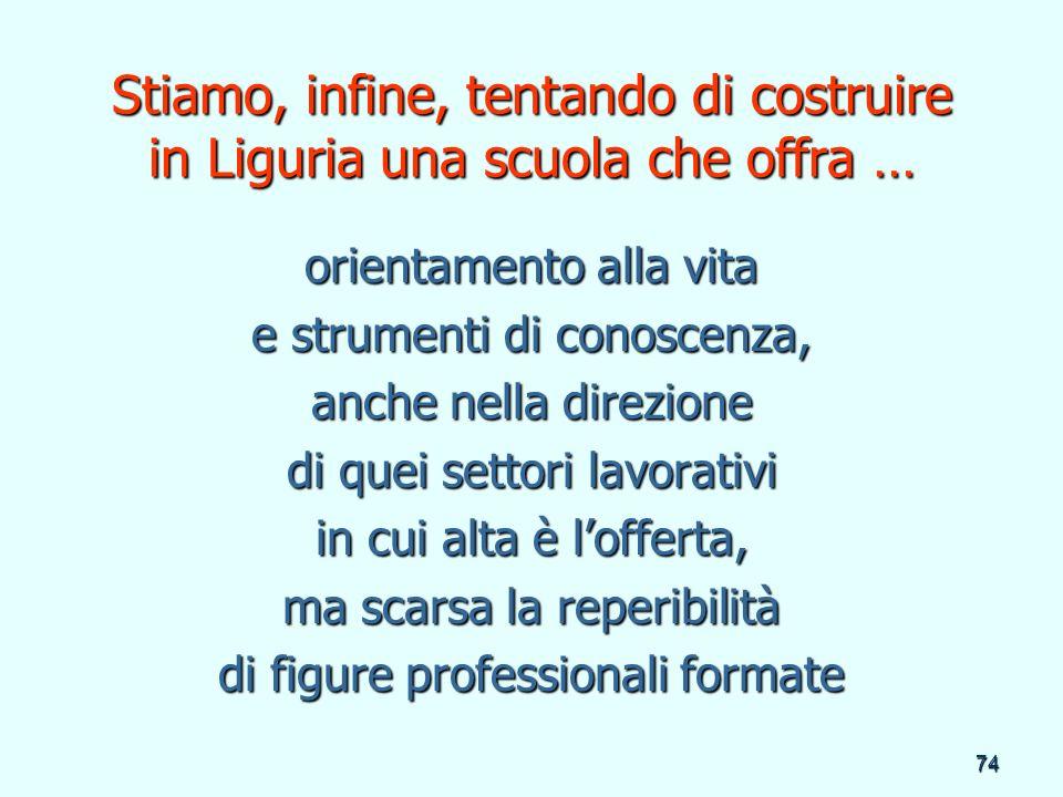 Stiamo, infine, tentando di costruire in Liguria una scuola che offra …