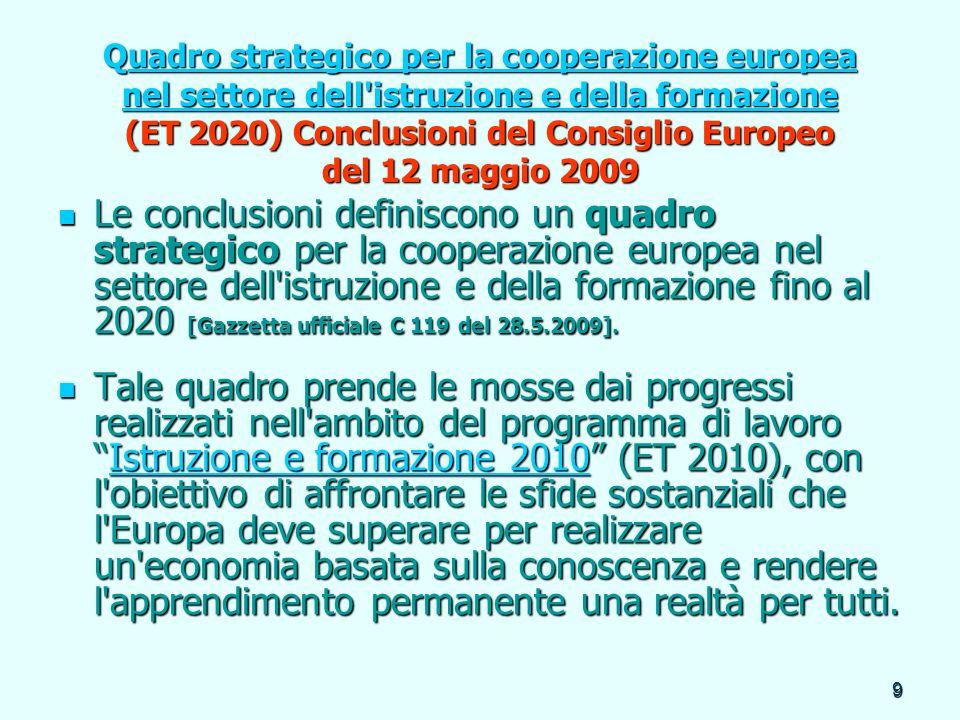 Quadro strategico per la cooperazione europea nel settore dell istruzione e della formazione (ET 2020) Conclusioni del Consiglio Europeo del 12 maggio 2009