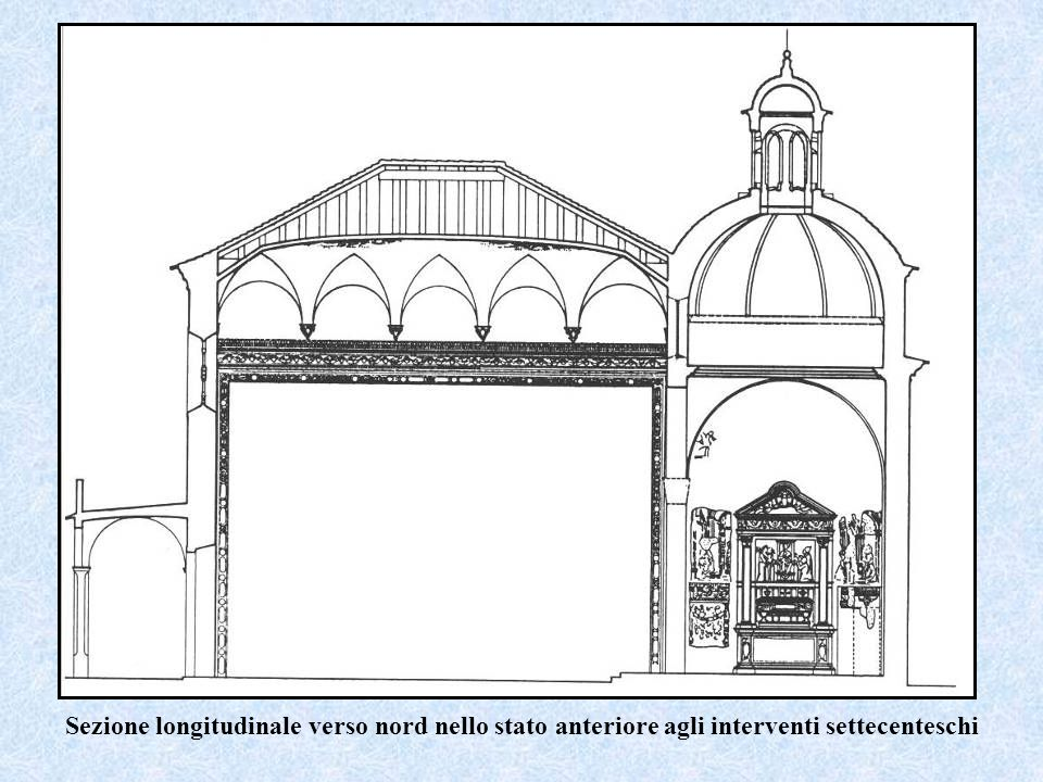 Sezione longitudinale verso nord nello stato anteriore agli interventi settecenteschi
